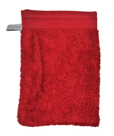 Anne de Solene French Wash Mitt Towel in Poppy Red